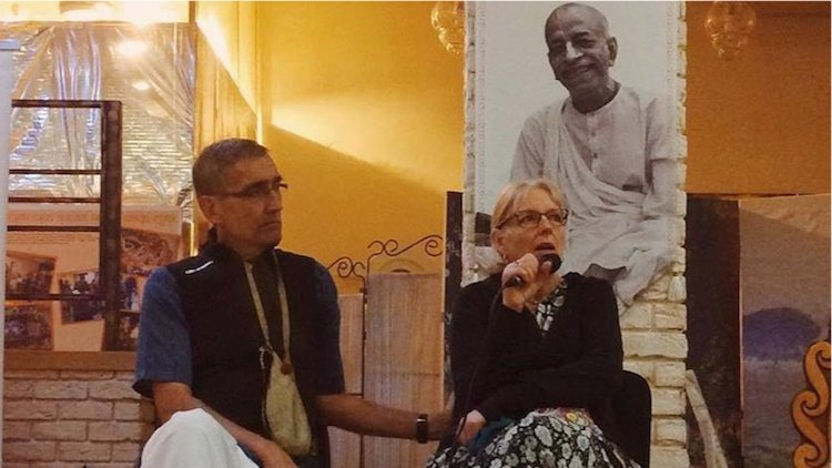 Partha Das and Uttama Devi Dasi at a seminar in Russia